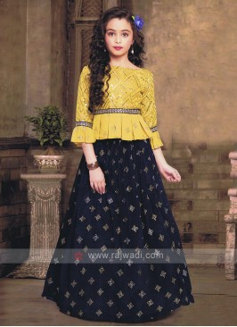 Stylish Golden Yellow And Blue Choli Suit