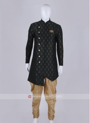 Stylish green and golden Patiala Suit
