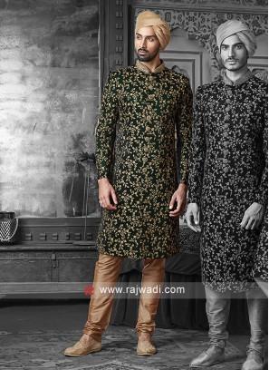Stylish Green Zari Work Sherwani