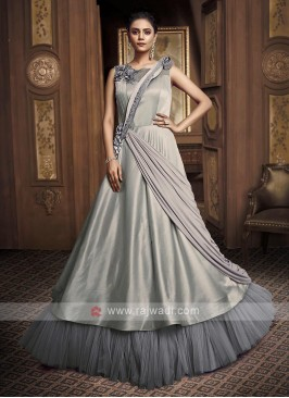 stylish grey color gown
