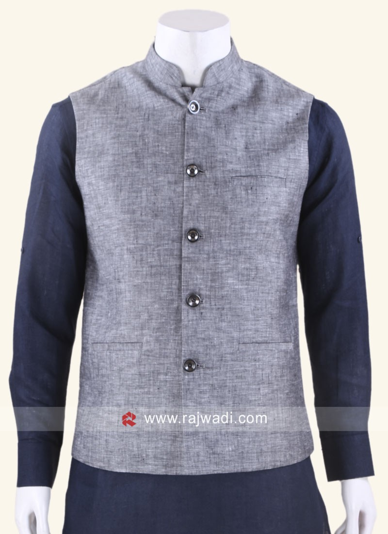 Stylish Grey Color Nehru Jacket
