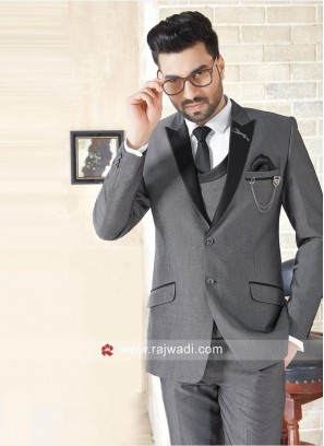 Stylish Grey Color Suit For Wedding