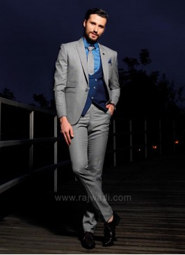 Stylish Grey Color Terry Rayon Suit For Wedding