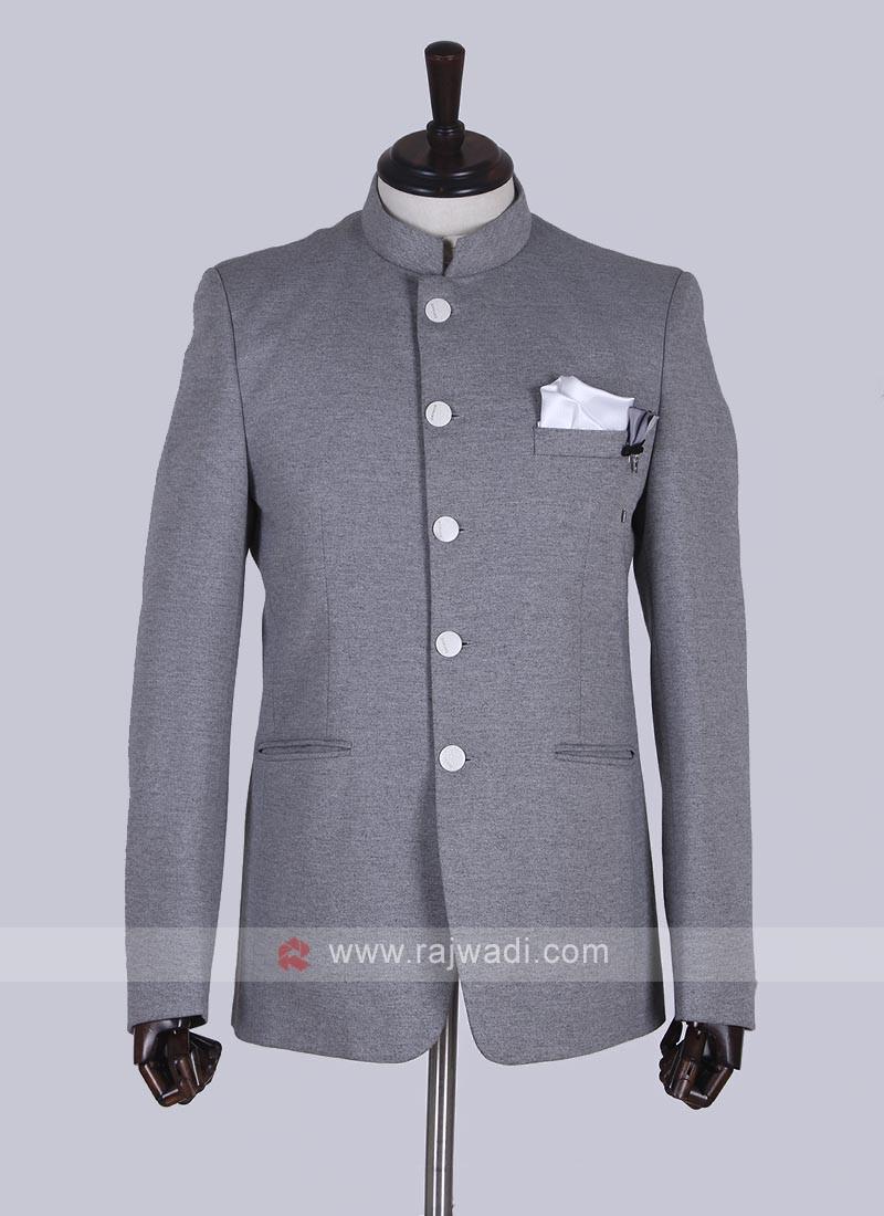 Stylish Grey Jodhpuri Suit