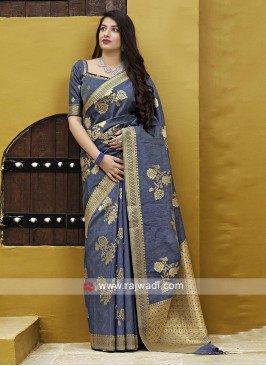 Stylish Grey Silk Saree