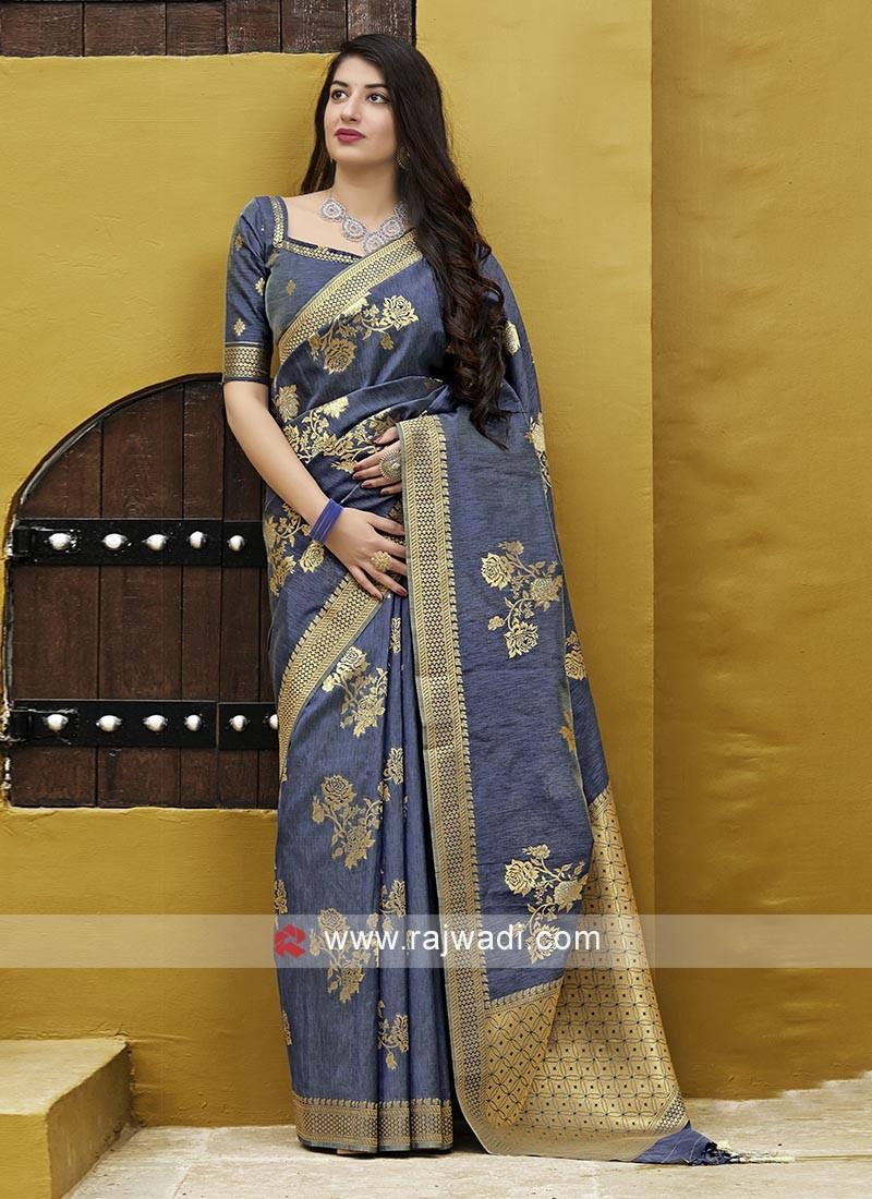 Stylish Grey Silk Saree
