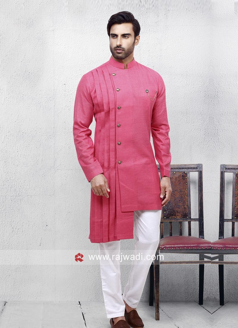 Stylish Hot Pink Color Pathani Suit