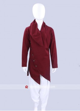 Stylish Kids Maroon Pathani Set
