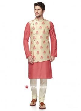 Stylish Cream and Pink Color Nehru Jacket