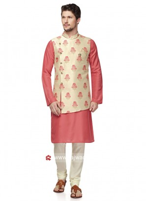 Stylish Cream and Pink Color Nehru Jacket