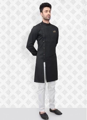 Stylish Kurta Pajama In Black Color