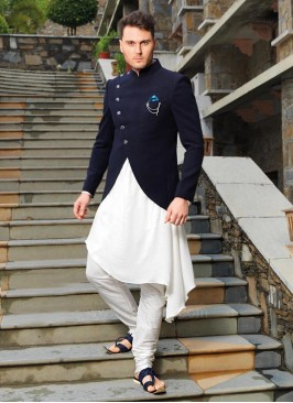 Stylish Kurta With Navy Color Koti