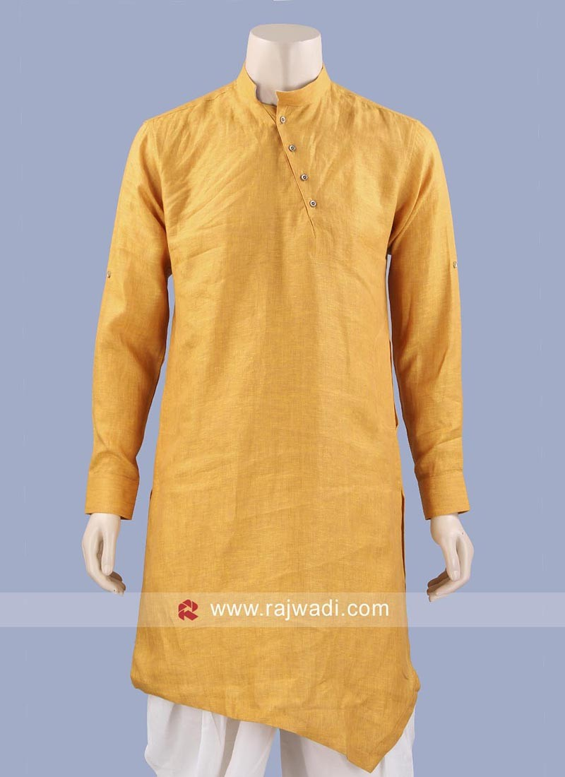 Stylish Layered Kurta In Golden Yellow