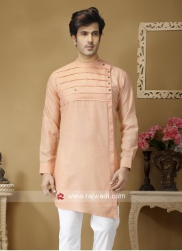 Stylish Light Peach Round Neck Kurta