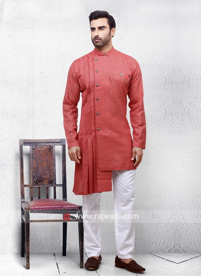 Stylish Linen Fabric Pathani Suit