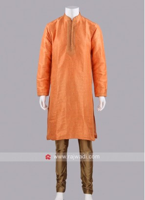 Stylish Long Sleeve Orange Kurta Set