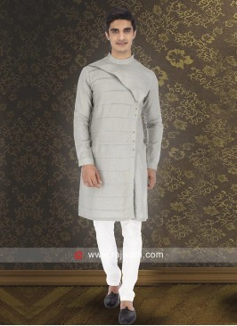 Stylish Long Sleeve Pale Grey Kurta Set