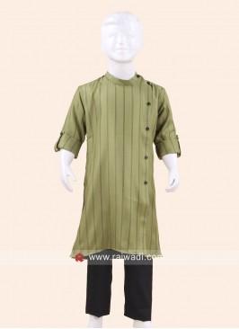 Stylish Mehndi Green Pathani Set
