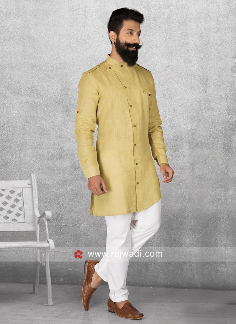 Stylish Golden Color Pathani Suit