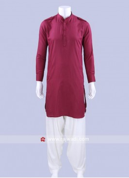 Stylish Maroon Color Pathani Suit