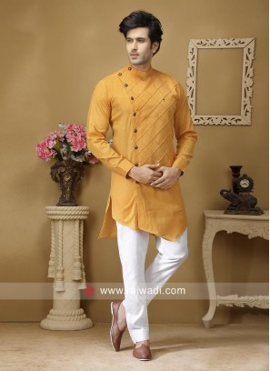 Stylish Mustard Yellow Color Pathani
