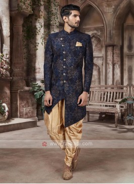 Stylish Navy Blue And Golden Indo-western
