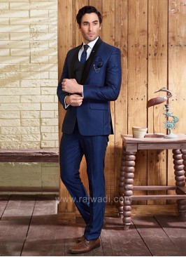 Stylish Navy Blue Color Suit With Matching Bottom