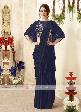 stylish navy blue saree