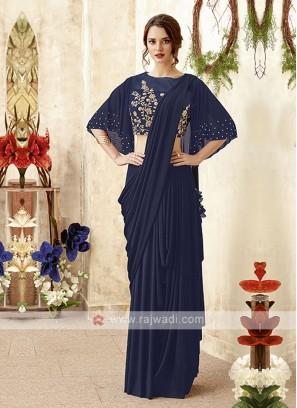 stylish navy blue saree