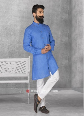 Stylish Blue Color Pathani