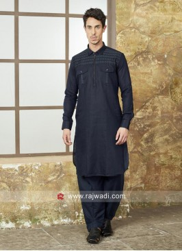 Stylish Navy Color Pathani For Eid