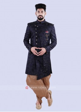 Stylish Navy & Golden Indo Western