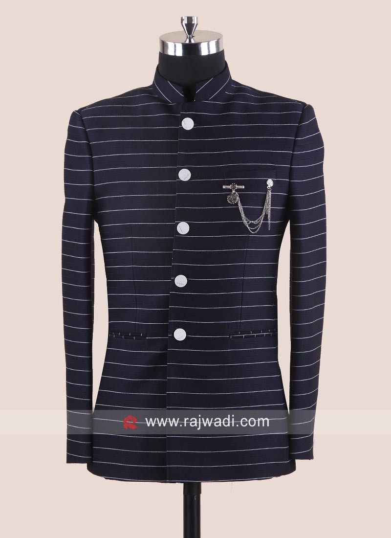 Stylish Navy Imported Fabric Jodhpuri Suit