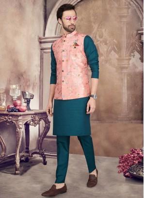 Stylish Printed Nehru Jacket Suit