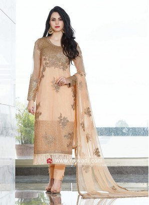 Stylish Net Fabric Semi Stitched Salwar Kameez