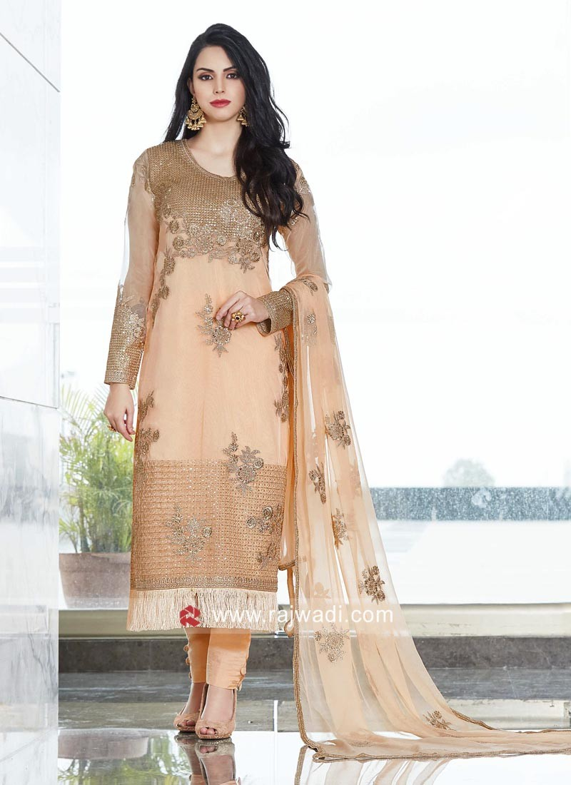 Stylish Net Fabric Semi Stitched Salwar Kameez