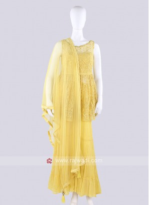 Stylish Net Fabric Yellow Gharara Suit