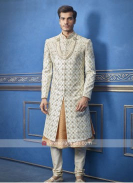 stylish off white and orange sherwani