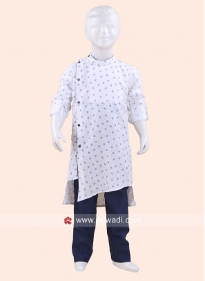 Stylish White Boys Pathani Set