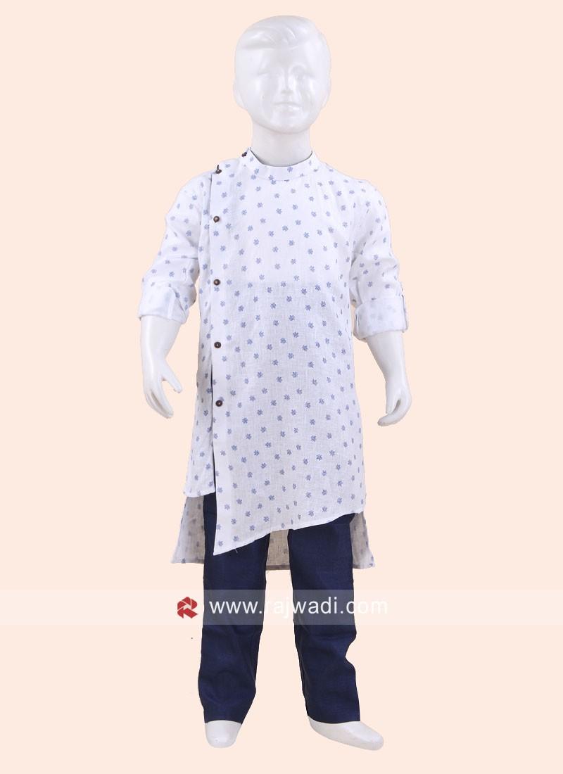 Stylish White Boys Pathani Set