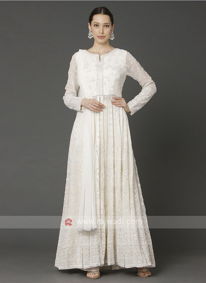 Stylish Off White Color Palazzo Suit