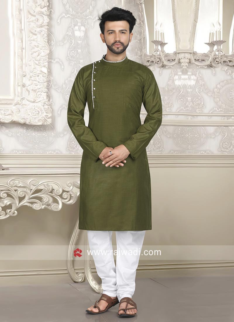 Stylish Olive Color Kurta Pajama