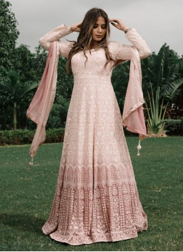 Stylish Onion Pink Color Anarkali Suit