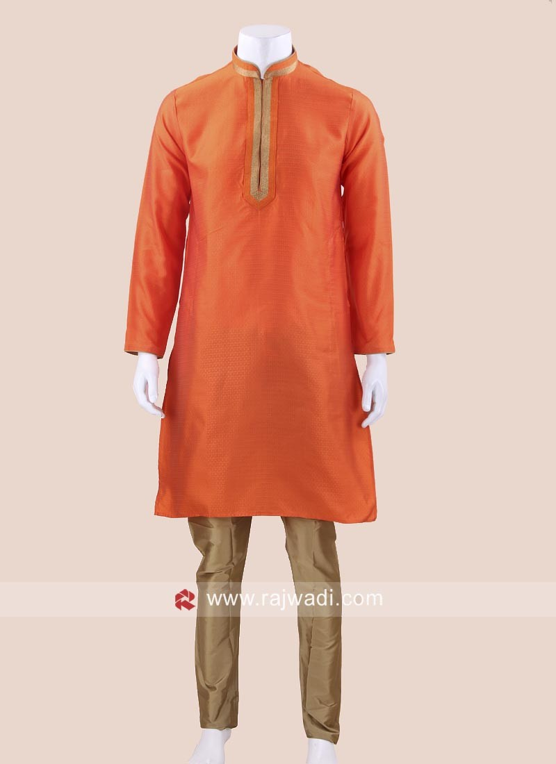 Stylish Orange Color Kurta Set