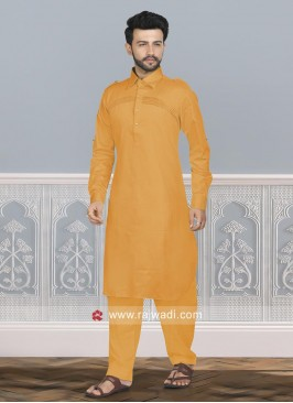 Stylish Orange Color Pathani Set