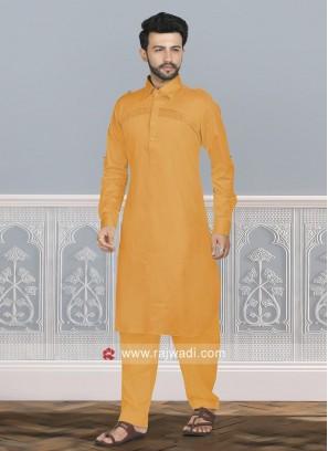 Stylish Orange Color Pathani Set