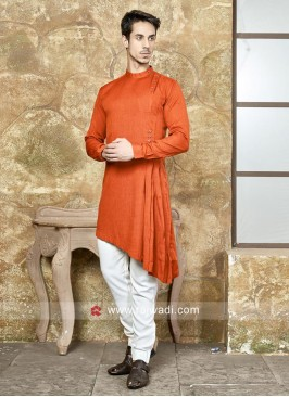 Stylish Orange Color Pathani Suit
