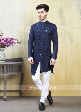 Stylish Blue Color Wedding Indo Western