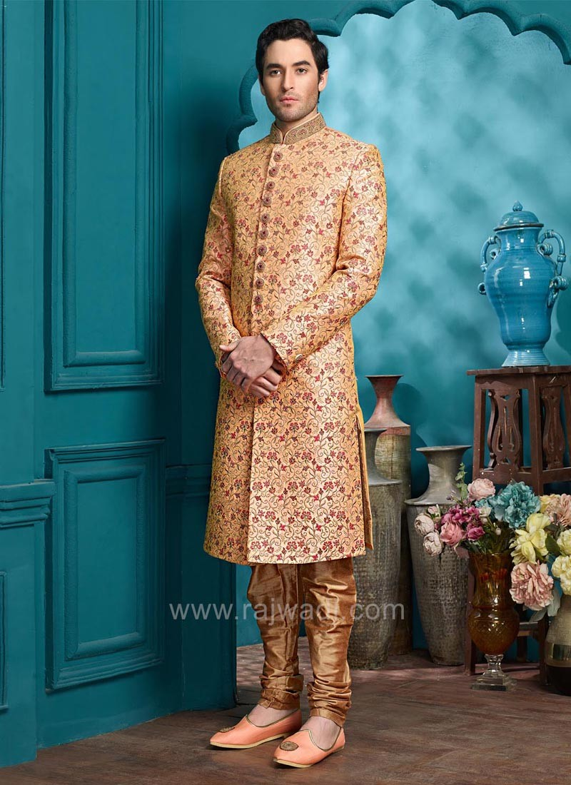 Stylish Orange Color Wedding Indo Western