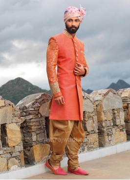 Stylish Peach Color Indo Western